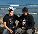 Australian Mick Fanning getting interviewd by Matt Griggs his trainer in Mundaka, Spain.
