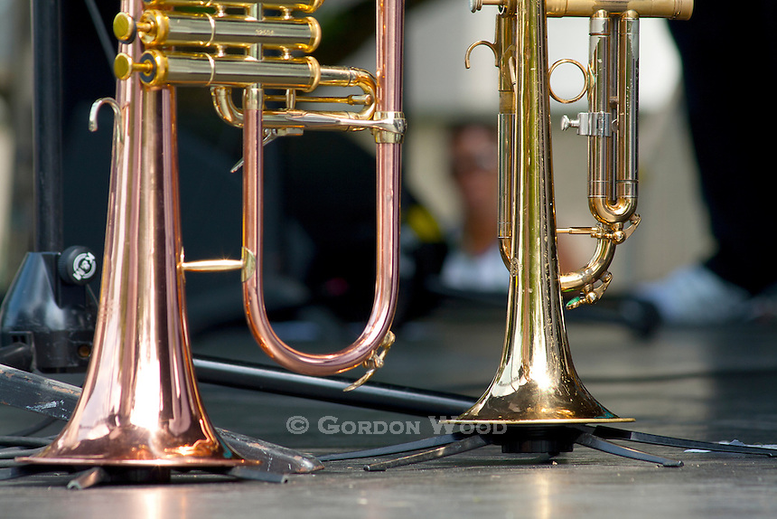 Trumpets on Stands on Sunfest stage
