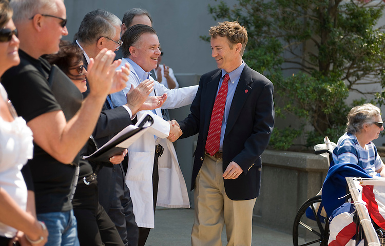 Senate candidate Rand Paul greets attendees of a Tea Party in downtown Louisville, April 15, 2010.  Candidate Trey Grayson also attended but did not speak.