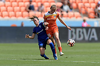 Houston, TX - Saturday May 27, 2017: Lauren Barnes and Janine Beckie (16) of the Houston Dash battle for control of the ball during a regular season National Women's Soccer League (NWSL) match between the Houston Dash and the Seattle Reign FC at BBVA Compass Stadium.