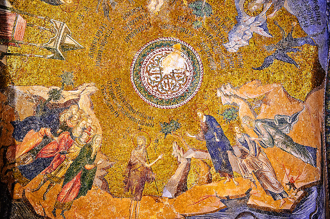 The 11th century Roman Byzantine Church of the Holy Saviour in Chora and its mosaic of Satan trying to deceive Jesus (panel D-8). Endowed between 1315-1321  by the powerful Byzantine statesman and humanist Theodore Metochites. Kariye Museum, Istanbul