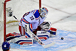 4 December 2008: New York Rangers' goaltender Henrik Lundqvist from Sweden makes a first period save against the Montreal Canadiens in their first meeting of the season at the Bell Centre in Montreal, Quebec, Canada. The Canadiens, celebrating their 100th season, played in the circa 1915-1916 uniforms for the evenings' Original Six matchup. *****Editorial Use Only*****..Mandatory Photo Credit: Ed Wolfstein Photo