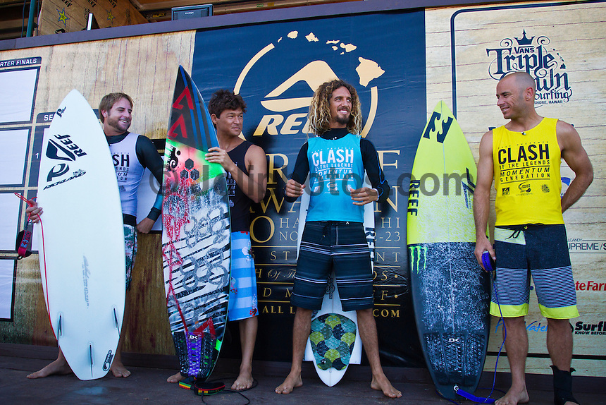 North Shore/Oahu/Hawaii (Tuesday, November 22, 2011)  -- The Reef Hawaiian Pro - the first of the 3-event Vans Triple Crown of Surfing series presented by Rockstar Energy Drink - continued today with the last eight heats of Round two completed and the whole of Round three in 2- to 3-foot surf. A Round of the Clash of the Legends featuring Rob Machado (USA), Ross Williams (HAW), Kalani Robb (HAW) and Shane Dorian (HAW) was also held with Williams taking a win.. Photo: joliphotos.com