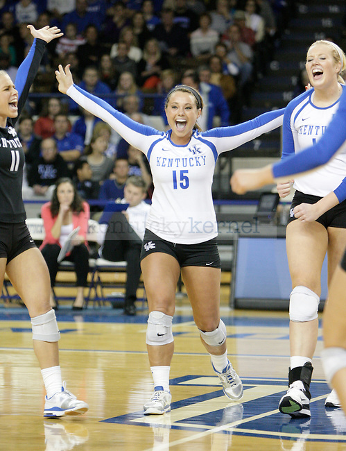 UK Sophomore Jackie Napper (15) celebrates after a point during the first match of the UK women's volleyball game v. East Tennessee University during the NCAA tournament in Memorial Coliseum in Lexington, Ky., on Friday, November 30, 2012. Photo by Genevieve Adams | Staff