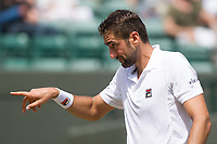 Marin Cilic (7) of Croatia in action during his victory over Steve Johnson (26) of United States in their Men's Singles Third Round Match today - Cilic def Johnson 6-4, 7-6, 6-4<br /> <br /> Photographer Ashley Western/CameraSport<br /> <br /> Wimbledon Lawn Tennis Championships - Day 5 - friday 7th July 2017 -  All England Lawn Tennis and Croquet Club - Wimbledon - London - England<br /> <br /> World Copyright &not;&copy; 2017 CameraSport. All rights reserved. 43 Linden Ave. Countesthorpe. Leicester. England. LE8 5PG - Tel: +44 (0) 116 277 4147 - admin@camerasport.com - www.camerasport.com