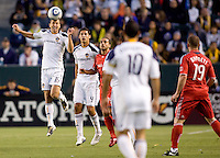 LA Galaxy defender Gregg Berhalter (16) clears a ball with his head. The LA Galaxy and Toronto FC played to a 0-0 draw at Home Depot Center stadium in Carson, California on Saturday May 15, 2010.  .
