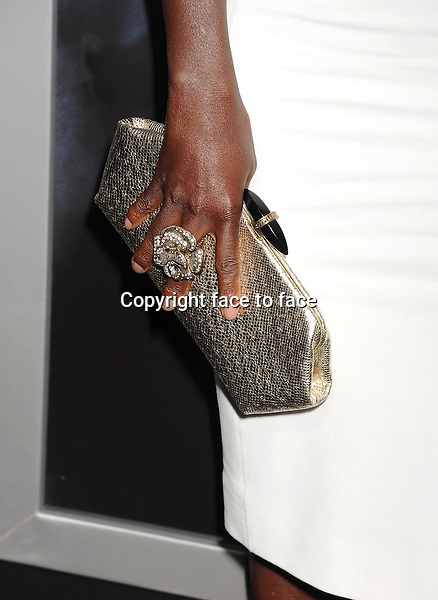 BEVERLY HILLS, CA- SEPTEMBER 12: Actress Viola Davis (handbag, ring detail) at the 'Prisoners' - Los Angeles Premiere at the Academy of Motion Picture Arts and Sciences on September 12, 2013 in Beverly Hills, California.<br />