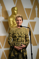 Frances McDormand backstage for performance by an actress in a leading role for work on &ldquo;Three Billboards Outside Ebbing, Missouri&rdquo; during the live ABC Telecast of The 90th Oscars&reg; at the Dolby&reg; Theatre in Hollywood, CA on Sunday, March 4, 2018.<br /> *Editorial Use Only*<br /> CAP/PLF/AMPAS<br /> Supplied by Capital Pictures