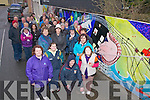 At the official unveiling of their Mural in New Street Cahersiveen on Friday afternoon last were Kerry Parents & Friends Life Skills Program participants , pictured here front l-r; Elizabeth Lynch, Fiona O'Neill, David Cronin, Louise Lynch, Ellen O'Donoghue back l-r; Helen Richmond(Artist), Ann Campbell(Instructor), John Cahill & Irene Brune(Instructor).