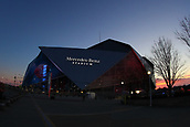 January 29th 2019, Atlanta, Georgia, USA;  A General view of  Mercedes Benz Stadium during Super Bowl LIII week at dusk on January 29, 2019 in Atlanta, GA.