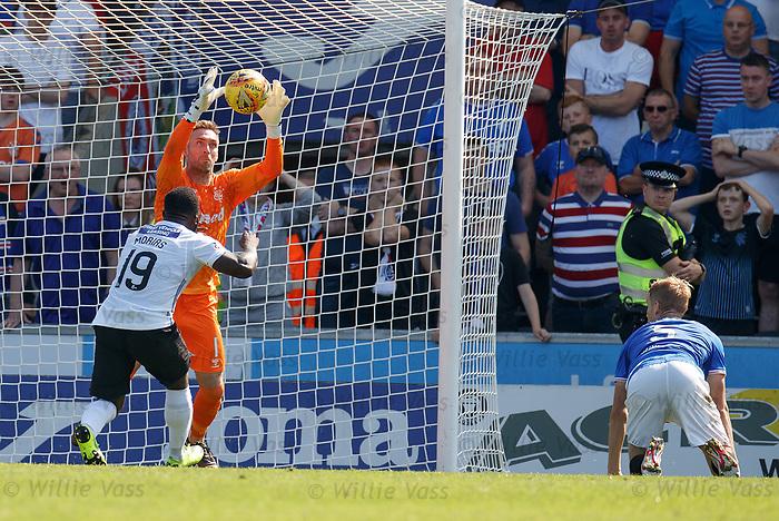 25.08.2019 St Mirren v Rangers: Allan McGregor saves from Junior Morias