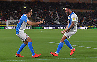 Blackburn Rovers' Derrick Williams (right) celebrates scoring his sides opening goal<br /> <br /> Photographer Dave Howarth/CameraSport<br /> <br /> The Premier League - Hull City v Blackburn Rovers - Tuesday August 20th 2019  - KCOM Stadium - Hull<br /> <br /> World Copyright © 2019 CameraSport. All rights reserved. 43 Linden Ave. Countesthorpe. Leicester. England. LE8 5PG - Tel: +44 (0) 116 277 4147 - admin@camerasport.com - www.camerasport.com
