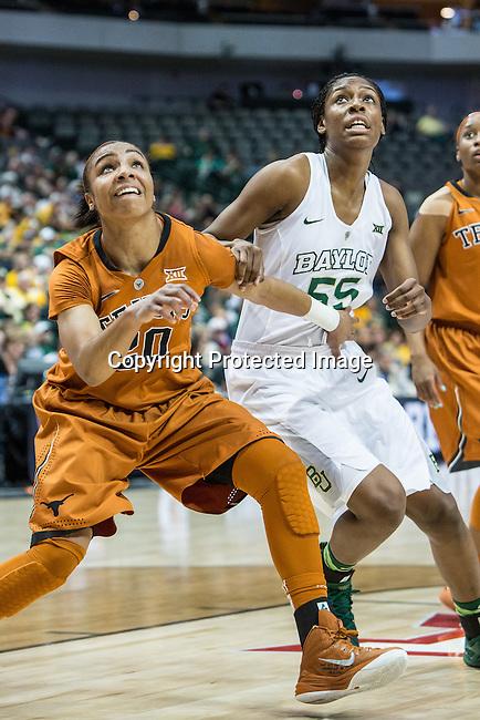 guard Brianna Taylor (20) blocks out point guard Khadijiah Cave (55) during Big 12 women's basketball championship final, Sunday, March 08, 2015 in Dallas, Tex. (Dan Wozniak/TFV Media via AP Images)