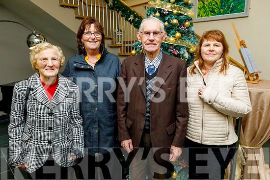 Joan Leen (Kielduff, Tralee), Margaret Mansfield (Tralee), Simon Leen (Kielduff, Tralee) and Ann Howard (Abbeydorney) enjoying the Abbeydorney/Kilflynn Active Retirement Christmas party in the Ballyroe Heights Hotel on Sunday.