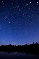 Stars and moonrise, Balsam Lake, Ontario. Stars above and stars below.
