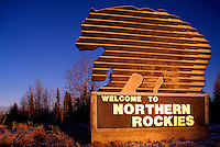 Alaska Highway, Northern Rockies, BC, British Columbia, Canada - Welcome to Northern Rockies Road Sign, Winter