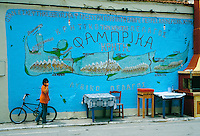 Map of Crete on the side of a taverna, Crete, May 2005