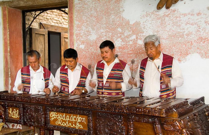 Band playing music harps at La Posada de Don Rodrigo hotel, Antigua, Guatemala, Central America