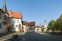 "Germany, Baden-Wuerttemberg, Region Heilbronn-Franconia, Tauberbischofsheim: Castle, today housing a museum, at background church St. Martin | Deutschland, Baden-Wuerttemberg, Region Heilbronn-Franken, Tauberbischofsheim: Kurmainzisches Schloss erbaut um 1280, Seit 1970 ""Tauberfraenkisches Landschaftsmuseum"", im Hintergrund die Stadtkirche St. Martin"
