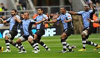 Twickenham, England. The Fijian team perform the Cibi prior to kickoff during the QBE international match between England and Fiji at Twickenham Stadium on November 10, 2012 in London, England