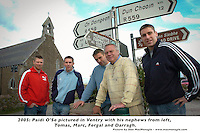 Paidi O'Se pictured in Ventry with his nephews from left, Tomas, Marc, Fergal and Dara..Picture by Don MacMonagle