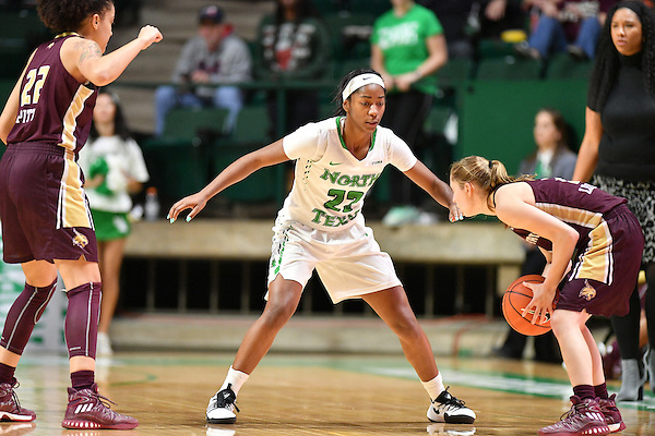 DENTON, TX - DECEMBER 22: North Texas Mean Green Womens Basketball  v Texas State at the Super Pit Arena in Denton on December 22, 2016 in Denton, Texas. (Photo by Rick Yeatts Photography/ Manny Flores)