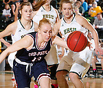JANUARY 24, 2015 -- Ashley Piper #13 of CSU-Pueblo goes after a loose ball trailed by Black Hills State defenders Taylor Trohkimoinen #11 and Jennie Scharn #34 during their Rocky Mountain Athletic Conference women's basketball game at the Donald E. Young Center in Spearfish, S.D. Saturday. (Photo by Dick Carlson/Inertia)