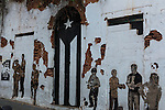 Street art on an abandoned building  in the historic colonial city of Old San Juan, Puerto Rico.