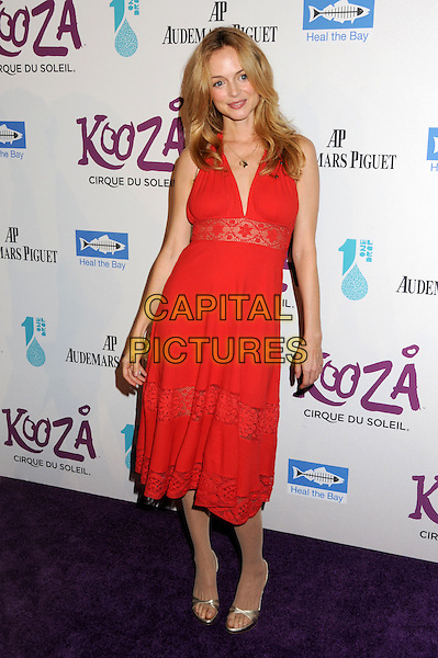 HEATHER GRAHAM.Cirque du Soleil's KOOZA Opening Night Gala held at the Santa Monica Pier, Santa Monica, California, USA..October 16th, 2009.full length red dress lace .CAP/ADM/BP.©Byron Purvis/AdMedia/Capital Pictures.