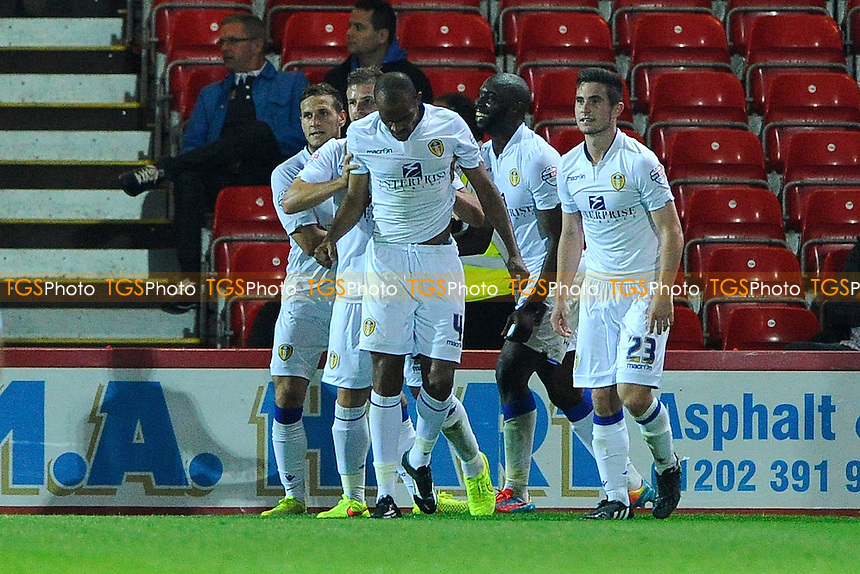 Leeds United players congratulate goalscorer Rodolph Austin of Leeds United - AFC Bournemouth vs Leeds United - Sky Bet Championship Football at the Goldsands Stadium, Kings Park, Boscombe, Bournemouth, Dorset - 16/09/14 - MANDATORY CREDIT: Denis Murphy/TGSPHOTO - Self billing applies where appropriate - contact@tgsphoto.co.uk - NO UNPAID USE