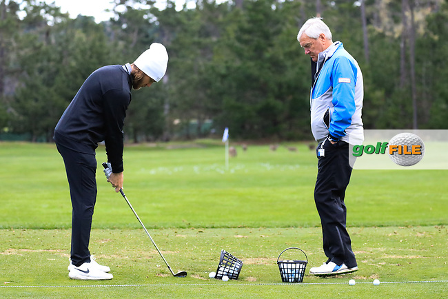 Tommy Fleetwood (ENG) and  his coach Alan Thompson at Spyglass Hill Golf Course during the second round of the AT&amp;T Pro-Am, Pebble Beach Golf Links, Monterey, USA. 08/02/2019<br /> Picture: Golffile | Phil Inglis<br /> <br /> <br /> All photo usage must carry mandatory copyright credit (&copy; Golffile | Phil Inglis)