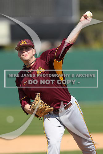 Pitcher/Outfielder Luke Rasmussen #28 of the Minnesota Golden Gophers during the Big East-Big Ten Challenge vs. the St. John's Red Storm at Jack Russell Memorial Stadium in Clearwater, Florida;  February 18, 2011.  St. John's defeated Minnesota 14-1.  Photo By Mike Janes/Four Seam Images