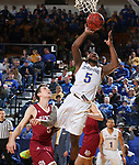 BROOKINGS, SD - JANUARY 13: David Jenkins Jr. #5 from South Dakota State University takes the ball to the basket against Denver during their game Saturday afternoon at Frost Arena in Brookings, SD.  (Photo by Dave Eggen/Inertia)