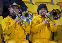 Fans blow trombones during the Super Rugby quarterfinal match between the Hurricanes and Sharks at Westpac Stadium, Wellington, New Zealand on Saturday, 23 July 2016. Photo: Dave Lintott / lintottphoto.co.nz