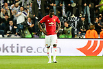 Manchester United's Eric Bailey looks dejected after Anderlecht's Leander Dendoncker scored the equaliser during the Europa League Quarter Final 1st leg match at RSCA Constant Vanden Stock Stadium, Anderlecht, Belgium. Picture date: April 13th, 2017.Pic credit should read: Charlie Forgham-Bailey/Sportimage