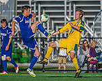 18 September 2013: University of Vermont Catamount Midfielder Noah Johnson (10), a Senior from South Burlington, VT, in action against Midfielder Heidar Emilsson, a Junior from Gardabaer, Iceland, of the Hofstra University Pride at Virtue Field in Burlington, Vermont. The Catamounts defeated the visiting Pride 2-1. Mandatory Credit: Ed Wolfstein Photo *** RAW (NEF) Image File Available ***