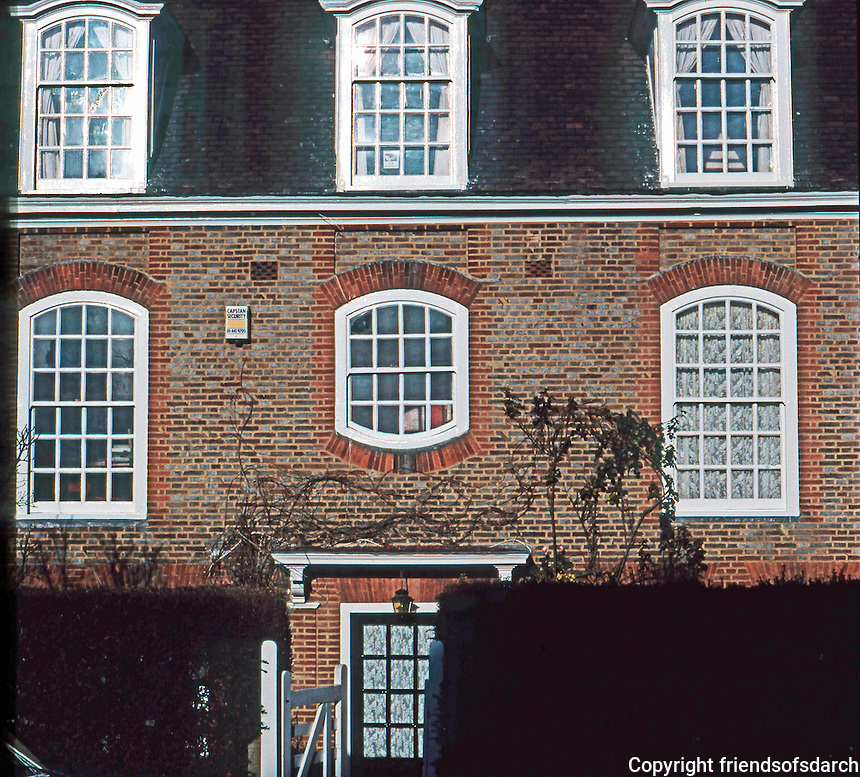 London:  Hampstead Garden Suburb, Bank of Flats, North Side, Central Square. Lutyens.<br />