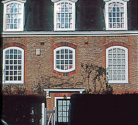 London:  Hampstead Garden Suburb, Bank of Flats, North Side, Central Square. Lutyens.<br /> Photo '90.