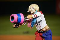 An actress portraying Harley Quinn during an on field performance after a Buffalo Bisons game against the Gwinnett Braves on August 19, 2017 at Coca-Cola Field in Buffalo, New York.  The Bisons wore special Superhero jerseys for Superhero Night.  Gwinnett defeated Buffalo 1-0.  (Mike Janes/Four Seam Images)