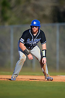 Indiana State Sycamores catcher Kaden Moore (12) during a game against the Boston College Eagles on February 27, 2016 at North Charlotte Regional Park in Port Charlotte, Florida.  Boston College defeated Indiana State 5-3.  (Mike Janes/Four Seam Images)