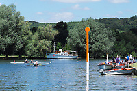 "Henley on Thames, United Kingdom, 22nd June 2018, Friday,   ""Henley Women's Regatta"",  General view,  Competitors, Rowing-Sculling, Training, Umpire Launches, moored, Henley Reach, Thames Valley,  River Thames, England, © Peter SPURRIER"