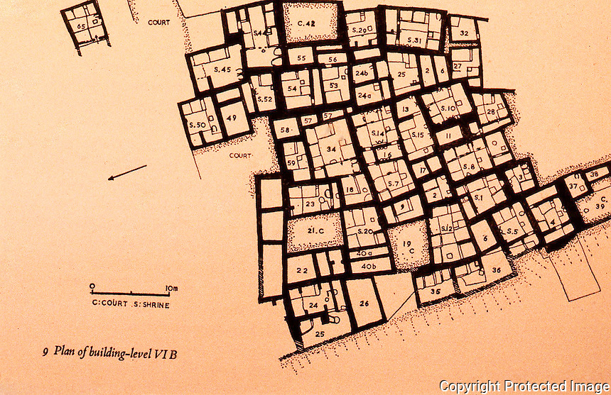 World Civilization:    Catal Huyuk--Plan of Level VI B. Circa 5986-5908 B.C.  James mellaart, CATAL HUYUK:  A NEOLITHIC TOWN IN ANATOLIA.  McGraw-Hill 1967.