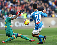 9th February 2020; Stadio San Paolo, Naples, Campania, Italy; Serie A Football, Napoli versus Lecce; Lorenzo Insigne of Napoli with a goal opportunity but saved by keeper Vigorito (Lecce)