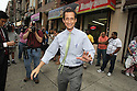Anthony Weiner departs from the Cothoa Luncheon Club on Monday, August 12, 2013 in New York. (AP Photo/ Donald Traill)