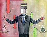 Businessman calculating money