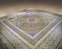Roman mosaics - Geometric Mosaic. Dionysus Villa Ancient Zeugama, 2nd - 3rd century AD . Zeugma Mosaic Museum, Gaziantep, Turkey.   Against an art background.