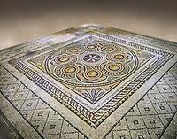 Roman mosaics - Geometric Mosaic. Dionysus Villa Ancient Zeugama, 2nd - 3rd century AD . Zeugma Mosaic Museum, Gaziantep, Turkey.   Against an art background.