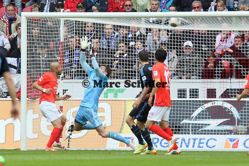 Elkin Soto (Mainz) erzielt das 1:0, Rene Adler (HSV) machtlos - 1. FSV Mainz 05 vs. Hamburger SV, Coface Arena, 34. Spieltag