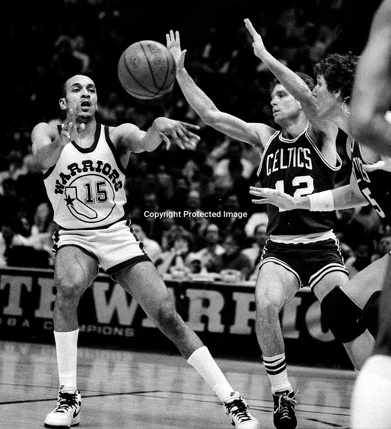Warriors Geoff Huston against the Boston Celtics (1986 photo/Ron Riesterer)