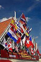 Flags on building, Volendam, Netherlands, Holland